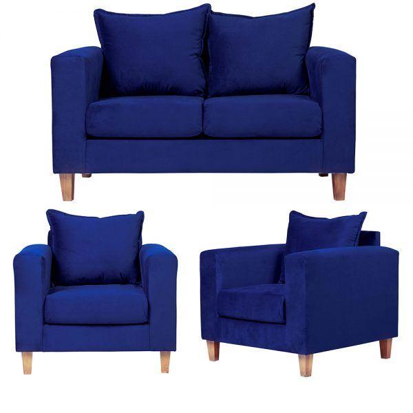 Living Naxos Sofa 2 Cuerpos Sillones Azul 1