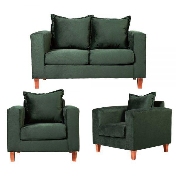 Living Naxos Sofa 2 Cuerpos Sillones Verde 1