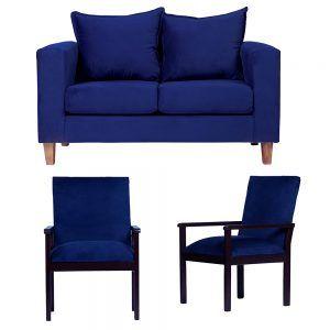 Living Naxos Sofa 2 Cuerpos Sitiales Azul 1