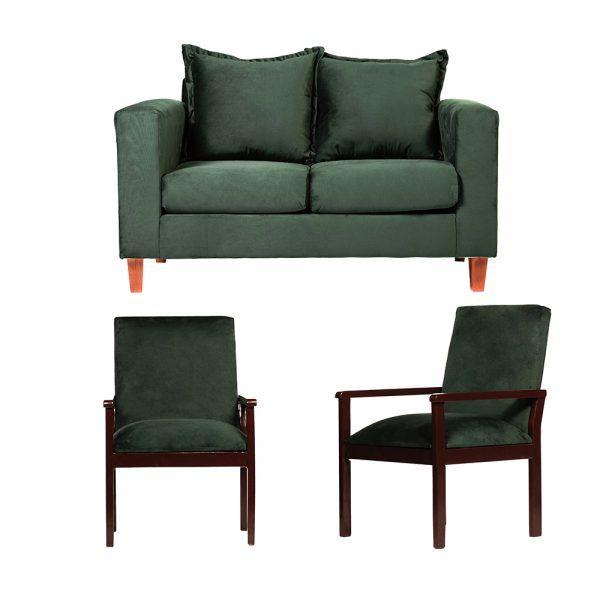 Living Naxos Sofa 2 Cuerpos Sitiales Verde 1