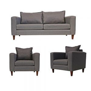 Living Naxos Sofa 3 Cuerpos 2 Sillones Gris 1