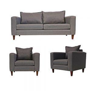 Living Naxos Sofa 3 Cuerpos 2 Sillones Gris 1