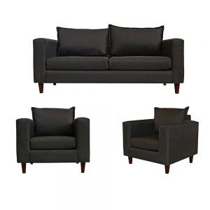 Living Naxos Sofa 3 Cuerpos 2 Sillones Gris Oscuro 1