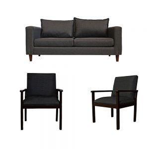 Living Naxos Sofa 3 Cuerpos 2 Sitiales Gris Oscuro 1