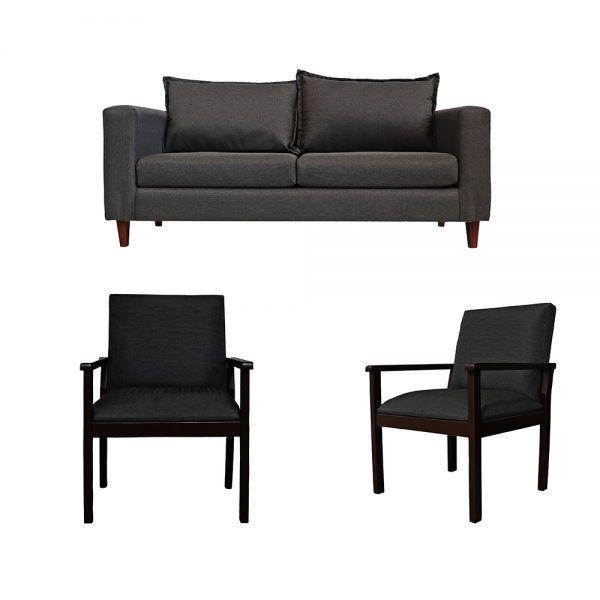 Living Naxos Sofa 3 Cuerpos 2 Sitiales Gris Oscuro 1