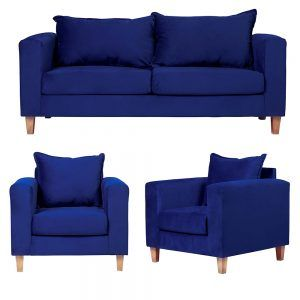 Living Naxos Sofa 3 Cuerpos Sillones Azul 1