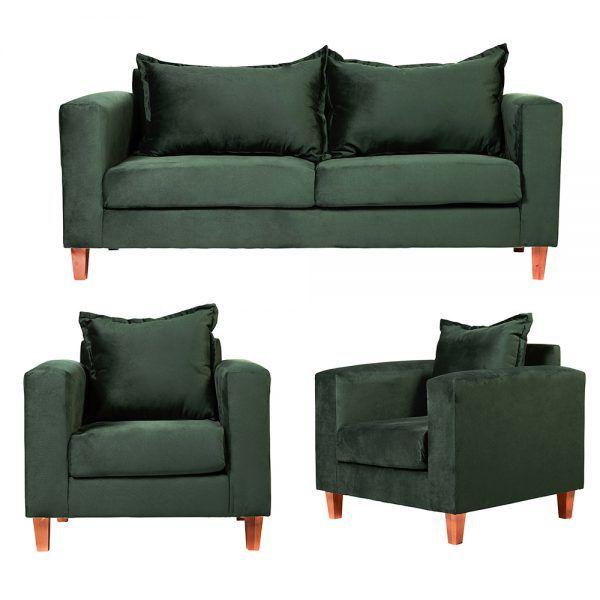 Living Naxos Sofa 3 Cuerpos Sillones Verde 1