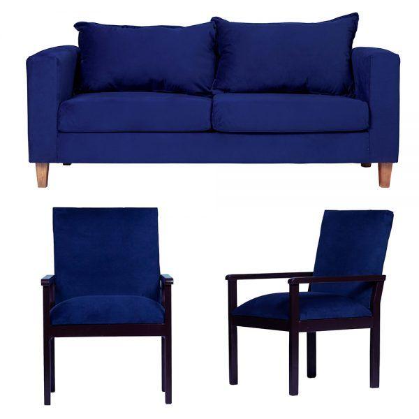 Living Naxos Sofa 3 Cuerpos Sitiales Azul 1