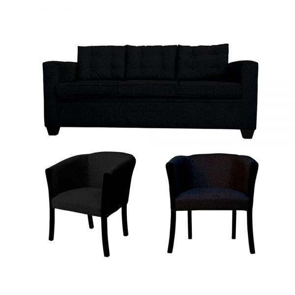 Living Rocky Sofa 3 Cuerpos 2 Sitiales Negro 1