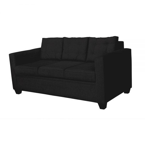 Living Rocky Sofa 3 Cuerpos 2 Sitiales Negro 3