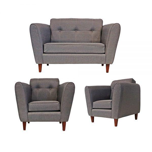 Living Rodas Sofa 2 Cuerpos 2 Sillones Gris 1