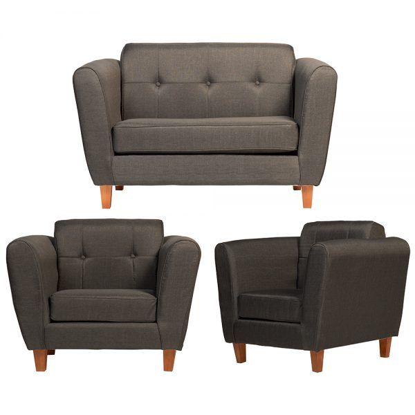 Living Rodas Sofa 2 Cuerpos 2 Sillones Gris Oscuro 1