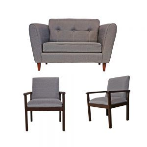 Living Rodas Sofa 2 Cuerpos 2 Sitiales Gris 1