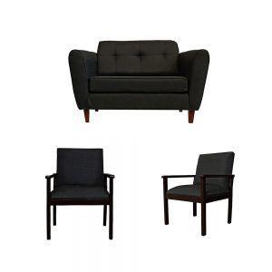 Living Rodas Sofa 2 Cuerpos 2 Sitiales Gris Oscuro 1