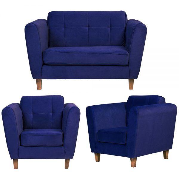 Living Rodas Sofa 2 Cuerpos Sillones Azul 1