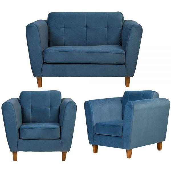 Living Rodas Sofa 2 Cuerpos Sillones Petroleo 1