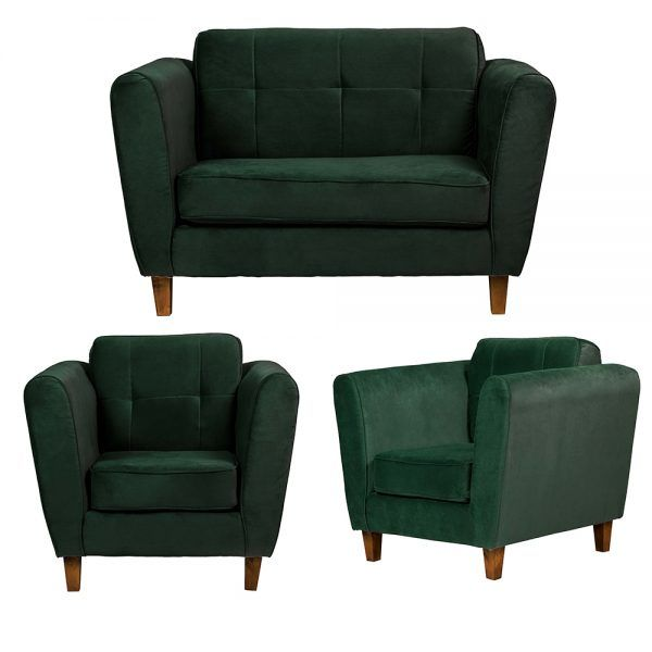 Living Rodas Sofa 2 Cuerpos Sillones Verde 1