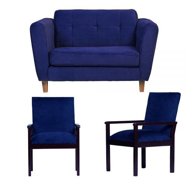 Living Rodas Sofa 2 Cuerpos Sitiales Azul 1