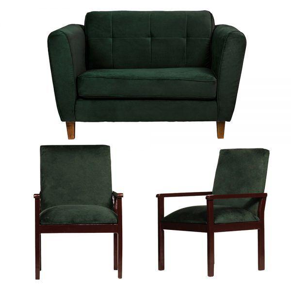 Living Rodas Sofa 2 Cuerpos Sitiales Verde 1