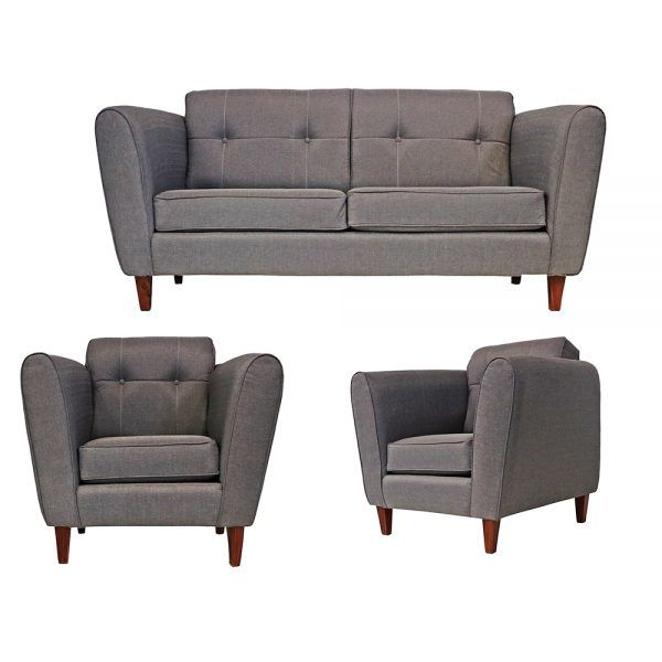Living Rodas Sofa 3 Cuerpos 2 Sillones Gris 1