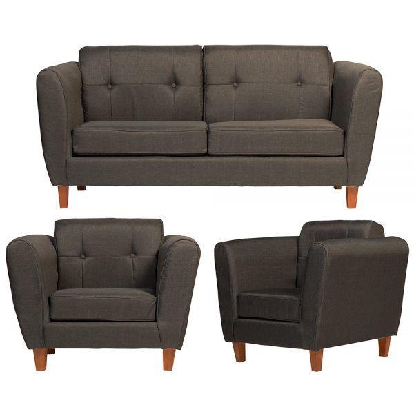 Living Rodas Sofa 3 Cuerpos 2 Sillones Gris Oscuro 1
