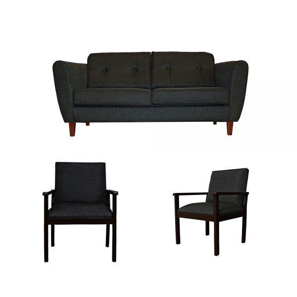 Living Rodas Sofa 3 Cuerpos 2 Sitiales Gris Oscuro 1