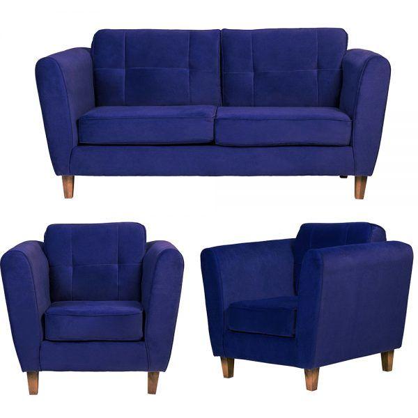 Living Rodas Sofa 3 Cuerpos Sillones Azul 1