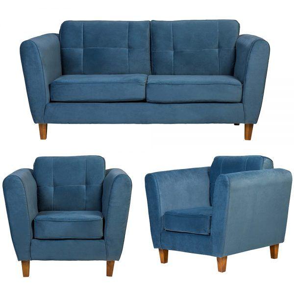 Living Rodas Sofa 3 Cuerpos Sillones Petroleo 1