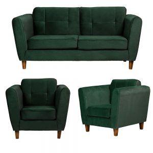 Living Rodas Sofa 3 Cuerpos Sillones Verde 1
