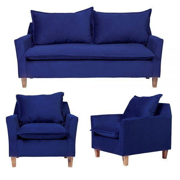 Living Santorini Sofa 3 Cuerpos Sillones Azul 1