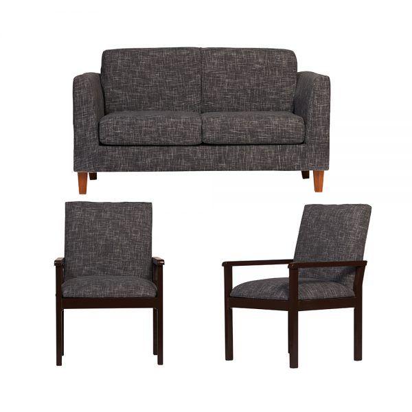 Living Zante Sofa 2 Cuerpos 2 Sitiales Gris Oscuro 1