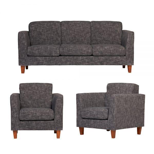 Living Zante Sofa 3 Cuerpos 2 Sillones Gris Oscuro 1
